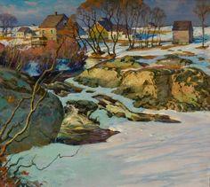"""Josias River Falls-Ogunquit,"" Joseph B. Davol, ca. 1919, oil on canvas, 34 x 40"", Ogunquit Museum Of American Art."