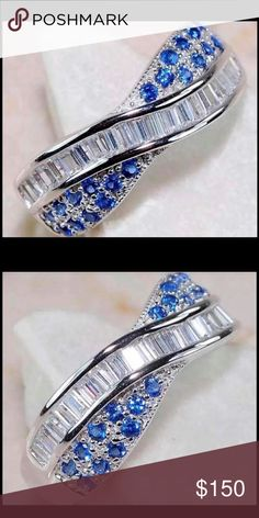 ❗️SALE ❗️Solid 925 SS Ring With 2CT Blue & Topaz Gorgeous!!! Solid genuine 925 Sterling Silver ring with 2CT Blue & white Topaz size 6 ( resizable ) 925 Jewelry Rings