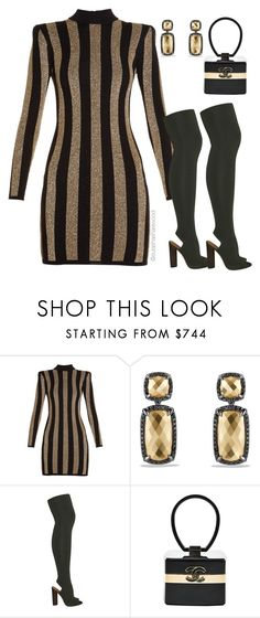 """Groupie Love...."" by esharewood ❤ liked on Polyvore featuring Balmain, David Yurman, adidas Originals and Chanel"