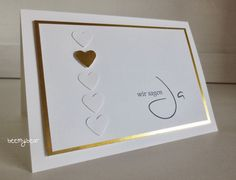 Stampin' Up! ... handmade card from stampin with beemybear ... white and gold ... clean and simple ... column of punched tone on tone hearts with one gold one ... wedding invitation but would be a great  valentine too ...