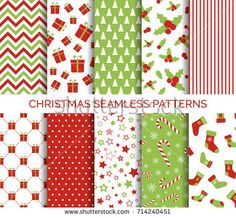 Christmas seamless patterns. Vector set of Christmas backgrounds in traditional colors