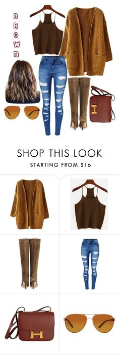 """""""Brown"""" by ophelia420 ❤ liked on Polyvore featuring Gianvito Rossi, WithChic, Hermès and Oakley"""