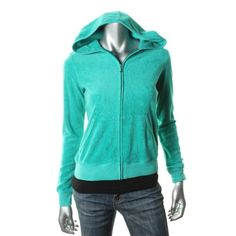 JUICY COUTURE NEW Green Terry Cloth Hooded Long Sleeves Track Jacket M BHFO