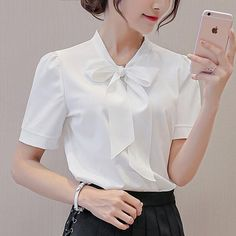 White Shirts Women, Blouses For Women, Women's Blouses, Ladies Shirts, Pink Blouses, White Blouses, Ladies Tops, Plus Size Casual, Casual Tops