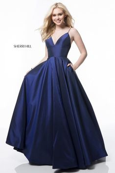 Sherri Hill 51822 dress for your next formal event at The Castle. We are an authorized retailer for all Sherri Hill dresses and every 51822 is brand new with all original tags! Navy Blue Prom Dresses, Princess Prom Dresses, Sherri Hill Prom Dresses, Prom Dresses Blue, Pretty Dresses, Bridesmaid Dresses, Taffeta Dress, Formal Gowns, White Formal Dresses