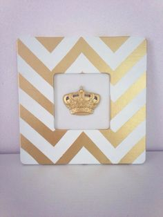 Gold & White Chevron Picture Frame  ($1 Michaels unfinished wood frame spray painted white & gold)