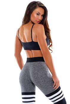 8bea5d57fa241 Bombshell Sportswear High-Waist Thigh-High - Grey/Black at Amazon Women's  Clothing