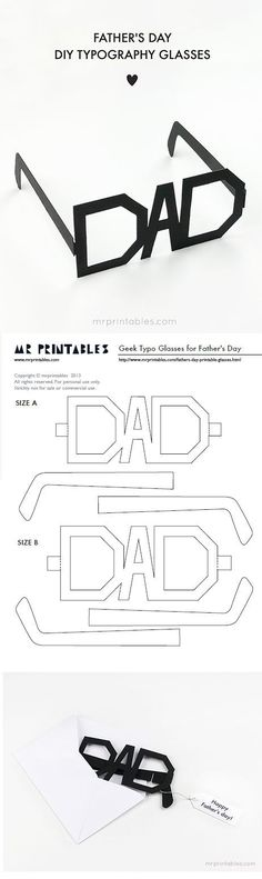 Fathers Day Cards FREE Printables - DIY Typography Glasses Paper Craft via Mr Printables - Print them in whatever color you want