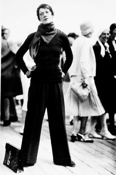 Woman in a Worth Pantsuit - August 1930 - Deauville, Grand Prix - @~ Watsonette