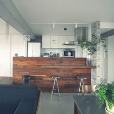 MSAさんの、キッチン,植物,土間,リノベーション,ドウダンツツジ,ウォールナット無垢,のお部屋写真