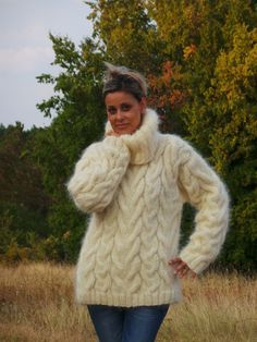 MADE to ORDER Cable Hand Knit Sweater Fuzzy Mohair WHITE or Choose your Own Color Jumper Jersey Turtleneck