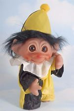 "Vintage DAM TROLL Doll Original Outfit + Hat 8.5"" CLOWN Yellow & Black Hair 1977"