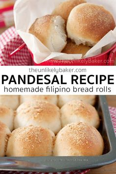 Here's an easy pandesal recipe so you can make the quintessential Filipino bread roll at home. It's crunchy outside, soft and fluffy inside, perfect with butter or dipped in your morning coffee… More Recipes With Yeast, Artisan Bread Recipes, Quick Bread Recipes, Easy Bread, Baking Recipes, Snack Recipes, Baking Tips, Pandesal Bread Recipe, Tasty Bread Recipe