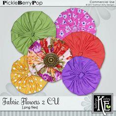 Fabric Flowers 2 CU Digital Scrapbooking Supplies by Kathryn Estry @ PickleberryPop   $5.49