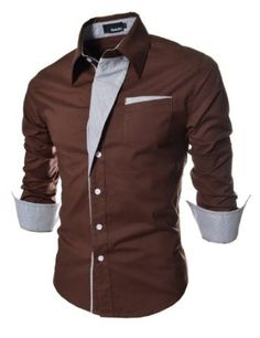 TheLees Mens Casual Long Sleeve Stripe Patched Fitted Dress Shirts