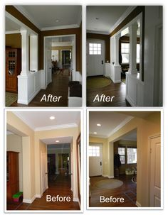 Traditional Entryway Ideas - trim mouldings and columns added to large, open entryways, giving plain, cookie cutter spaces a unique, customized feel. This is a great example of how mouldings, caulk and paint can completely transform a home - Craftsman Wainscot and Columns, Appleton Renovations