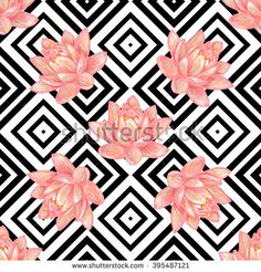 Seamless floral pattern background with tropical pink lotus flower vector background. Perfect for wallpapers, pattern fills, web page backgrounds, surface textures, textile Lotus Flower Wallpaper, Love Wallpaper, Pattern Wallpaper, Wallpaper Backgrounds, Lotus Vector, Vector Art, Vector Background, Background Patterns, Video Rosa