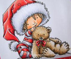 Hair: E55, E53. Bear: E44, E42, E41. Reds: R30, R32, R35, BV29. Targets: C3, C1, C0, C00. Copic, Mo Manning, Santa's Little Helper, Teddy Bear, Colour Palettes, Tables, Animals, Christmas, Hair