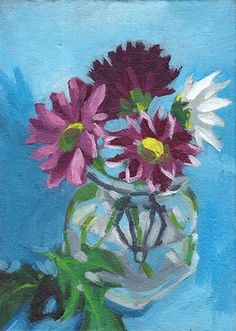 "Daily+Paintworks+-+""Chrysanthemums+in+Glass+Jar""+-+Original+Fine+Art+for+Sale+-+©+J+M+Needham"