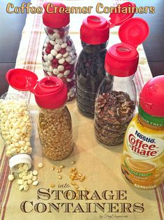 brilliant way to reuse your coffee mate containers, organizing, repurposing upcycling, storage ideas storage, Simple Organizing: Repurposed Coffee Creamer Containers Organisation Hacks, Pantry Organization, Organizing Ideas, Pantry Storage, Spice Storage, Pantry Ideas, Pantry Cupboard, Garage Storage, Organising