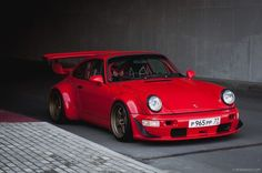 "topvehicles: ""Gorgeous RWB Porsche in red """