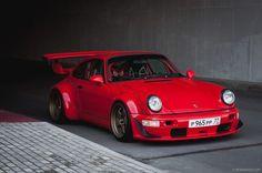 """topvehicles: """"Gorgeous RWB Porsche in red """""""