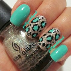 Teal leopard nails with silver glitter by Pretty Nails By Mal (just the ring finger though) Teal Nails, Leopard Nails, Fancy Nails, Love Nails, How To Do Nails, Pretty Nails, My Nails, Glitter Nails, Silver Nails