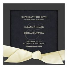 Cream And Black Formal Save The Date Invitations Square Invitation Card