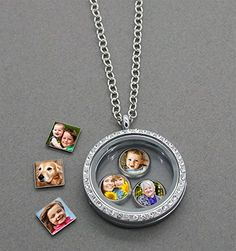 Do It Yourself Photo Glass Locket w/ Floating Photo Charms Kit * Click image to review more details.