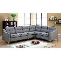 The L-shaped Furniture of America Danina Contemporary Style Tufted Sectional Sofa offers plenty of seating for friends and family. Tufted Sectional Sofa, Beige Sectional, Sofa Beds, Couches, Sofa Furniture, Furniture Deals, Living Room Furniture, Online Furniture, Living Rooms
