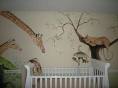 baby boy nursery room ideas giraffe Ideas baby boy nursery room ideas giraffe Ideas Safari jungle mural - featuring sweet baby giraffe, monkey and owl - painted in Chicago home by Debbie Cerone. Baby Boy Room Decor, Baby Boy Rooms, Baby Boy Nurseries, Baby Boys, Jungle Room, Jungle Nursery, Nursery Room, Bedroom, Giraffe Nursery
