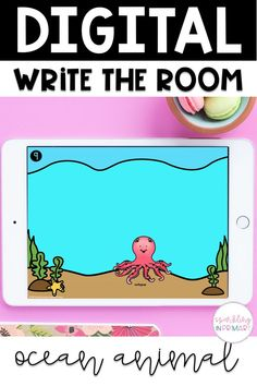 An easy, engaging kindergarten digital learning activity! Ocean animal write the room does not have to be classroom based, it can be done using Google Slides or Google Classroom! #kindergarten #kindergartendigitallearning
