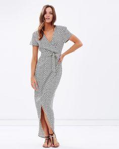 Atmos&Here Dinah Crossover Print Dress Dresses