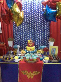 Superhero Birthday Party Ideas | Wonder Woman Dessert Table