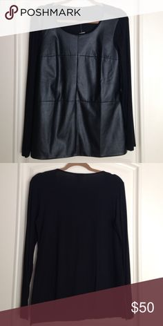 Ann Taylor black shirt Ann Taylor black imitation leather polyester rayon and spandex top Ann Taylor Tops