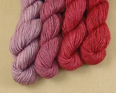 Mini Skeins Crushed Berries  Set of 4  Hand Dyed by XrayAnn, $18.50