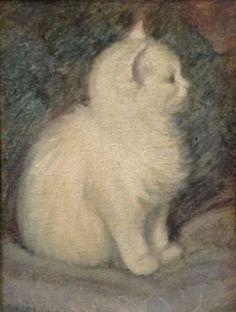 White Kitten - Ernestine Marie Dé Ruys Tydeman  Dutch, 1889-1967  Oil, 26 x 20 cm.
