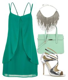 Green And Silver by ellary-branden on Polyvore featuring maurices, Pleaser and BCBGMAXAZRIA