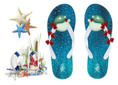 """""""Pufferfish Flip Flops"""" by sjlew ❤ liked on Polyvore featuring art"""