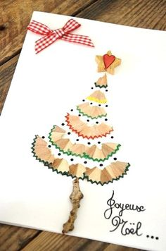 Sharpened Color Pencil Left-Overs Simple DIY Christmas Card