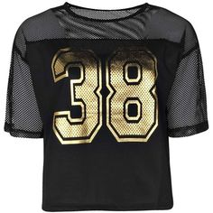 Boohoo Gabrielle Gold Foil Sport Mesh Crop Top ($8) ❤ liked on Polyvore