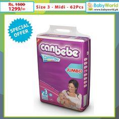 Canbebe Jumbo ( Midi ) 62 Pcs  Order online > http://babyworld.pk/diapers/1224-canbebe-jumbo-midi-62-pcs.html