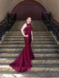 Burgundy Evening Gown Designs by Maizy Colleen IG: @MaizyColleen