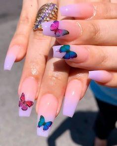 nails with butterflies ~ nails with butterflies ; nails with butterflies acrylic ; nails with butterflies short ; nails with butterflies design ; nails with butterflies blue Summer Acrylic Nails, Best Acrylic Nails, Acrylic Nail Designs, Nail Art Designs, Spring Nails, Butterfly Nail Designs, Winter Nails, Acrylic Nails Coffin Kylie Jenner, Summer Nails
