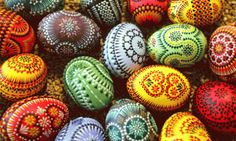 Hungarian dyed and decorated Easter eggs.