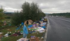 Muslim Invasion of Europe, 2015: The scene on the side of a motorway leading to the Austrian border a few days ago. The Muslim horde has just advanced on the border leaving behind the unmistakable traces of their camp. Attacked nations are doing nothing.