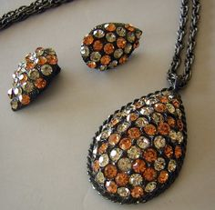 MOD Vintage 60s Orange Black Gray Rhinestone Set Demi Parure - Teardrop Earrings & Large Pendant Necklace
