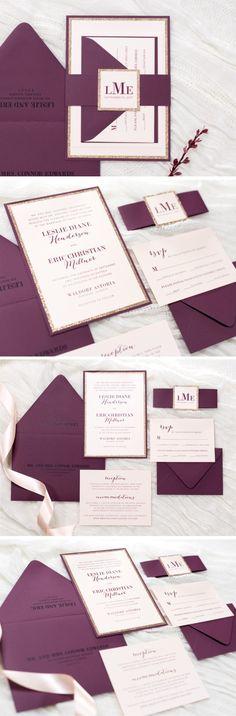 Blush Shimmer, Rose Gold Glitter, and Burgundy / Wine Wedding Invitation Suite     Modern, Elegant, Glam, Formal     by Second City Stationery
