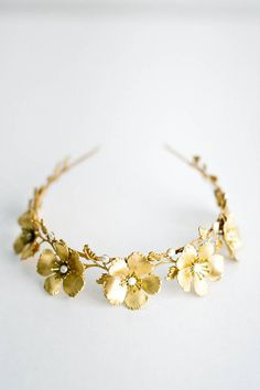 Wild Rose Tiara flower Tiara gold flower tiara Gold