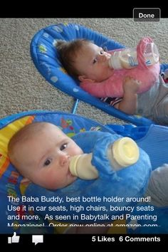 Best Baby Bottle Holder Around!! Every mothers helping hand for feedings!  Found in Babytalk magazine and on amazon.com. order from Bellababydesigns.net and they're great for baby shower gifts too:)). You won't regret this purchase!!!